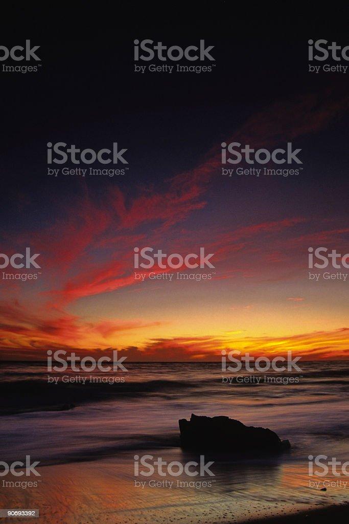 intense beach sunset royalty-free stock photo
