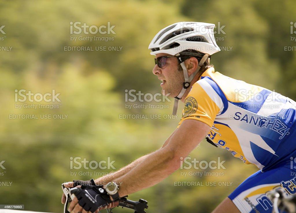 Intense Competitive Cyclist stock photo