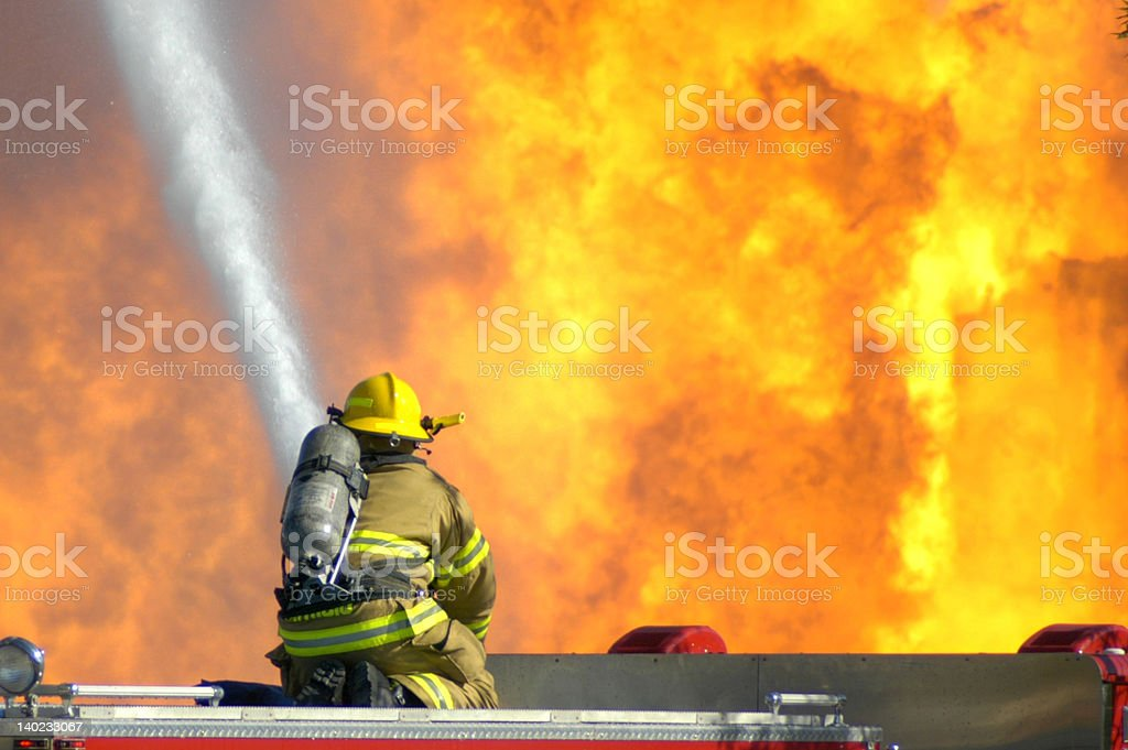 Intense firefighting stock photo