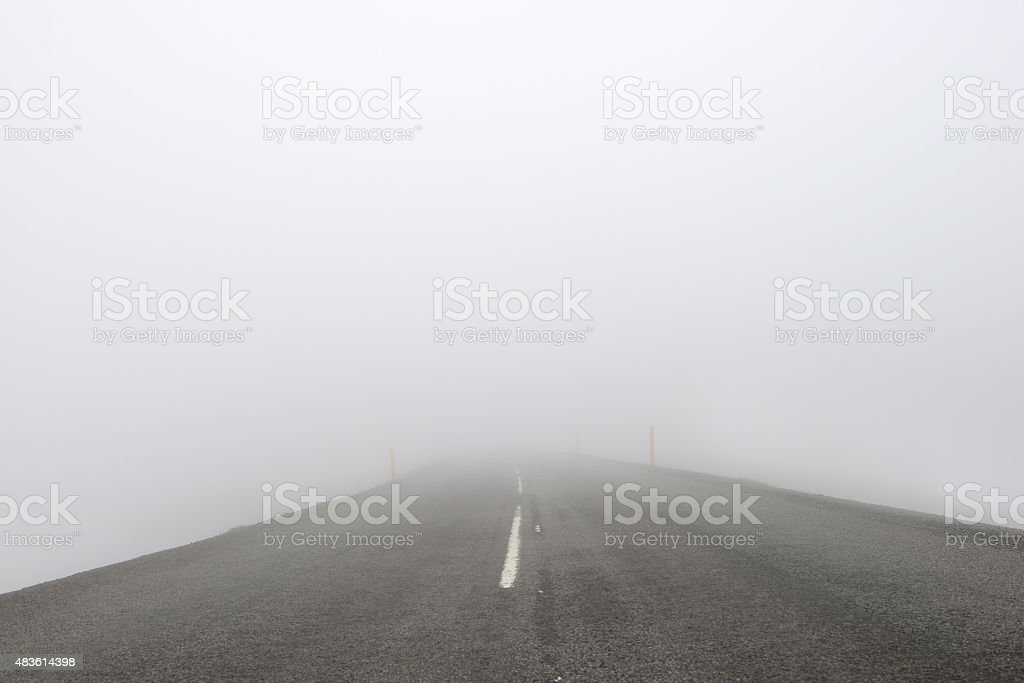 Intense Fog: Road With No Visibility stock photo