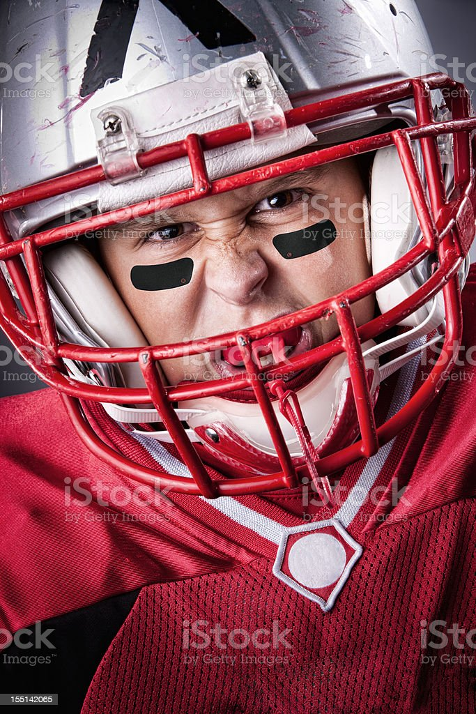 Intense Little League Football Portrait royalty-free stock photo