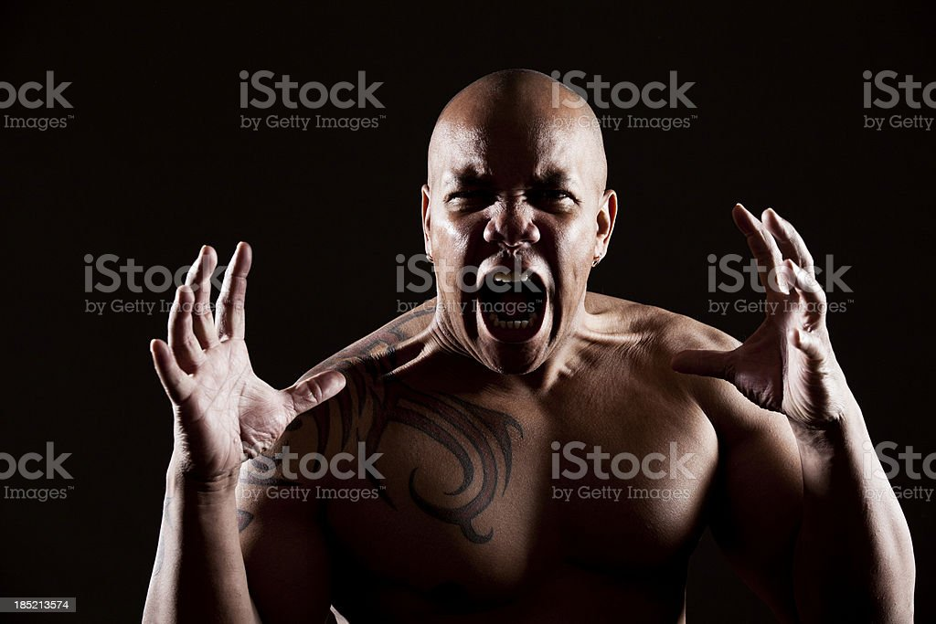 Intense man screaming royalty-free stock photo