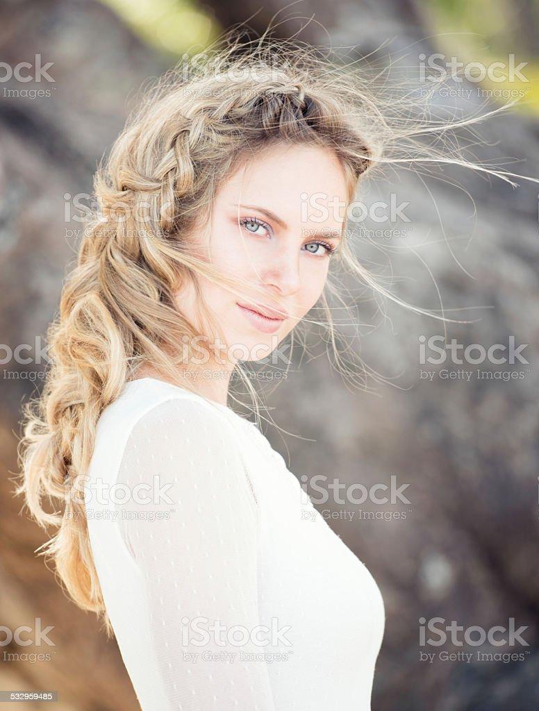 Intense Portrait of a Natural Beautiful Woman stock photo