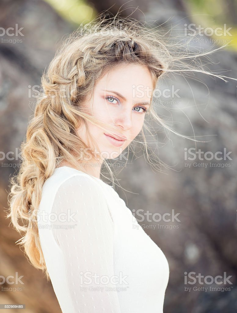 Intense Portrait of a Natural Beautiful Woman stock photo