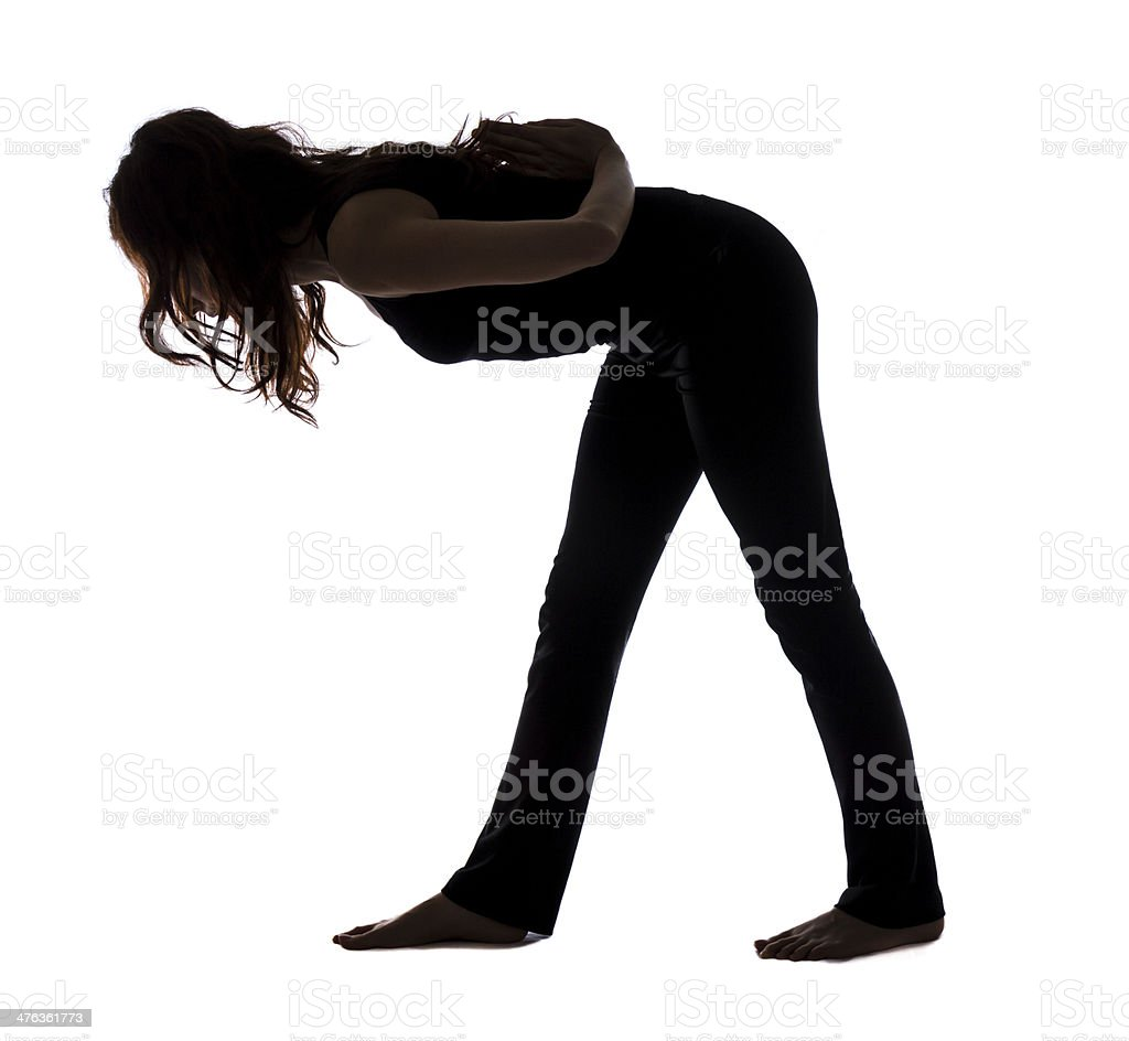 Intense Side Stretch Pose, Silhouette stock photo