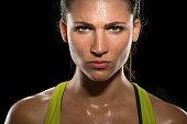 Intense stare eyes determined athlete champion glare headshot powerful
