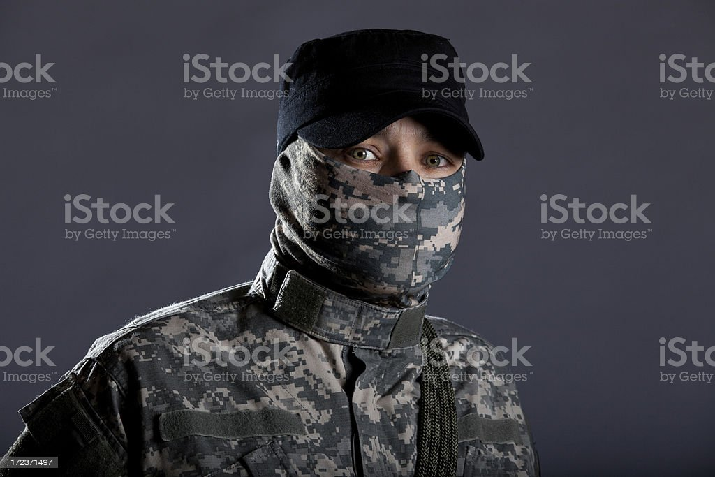 Intense Tactical Soldier royalty-free stock photo