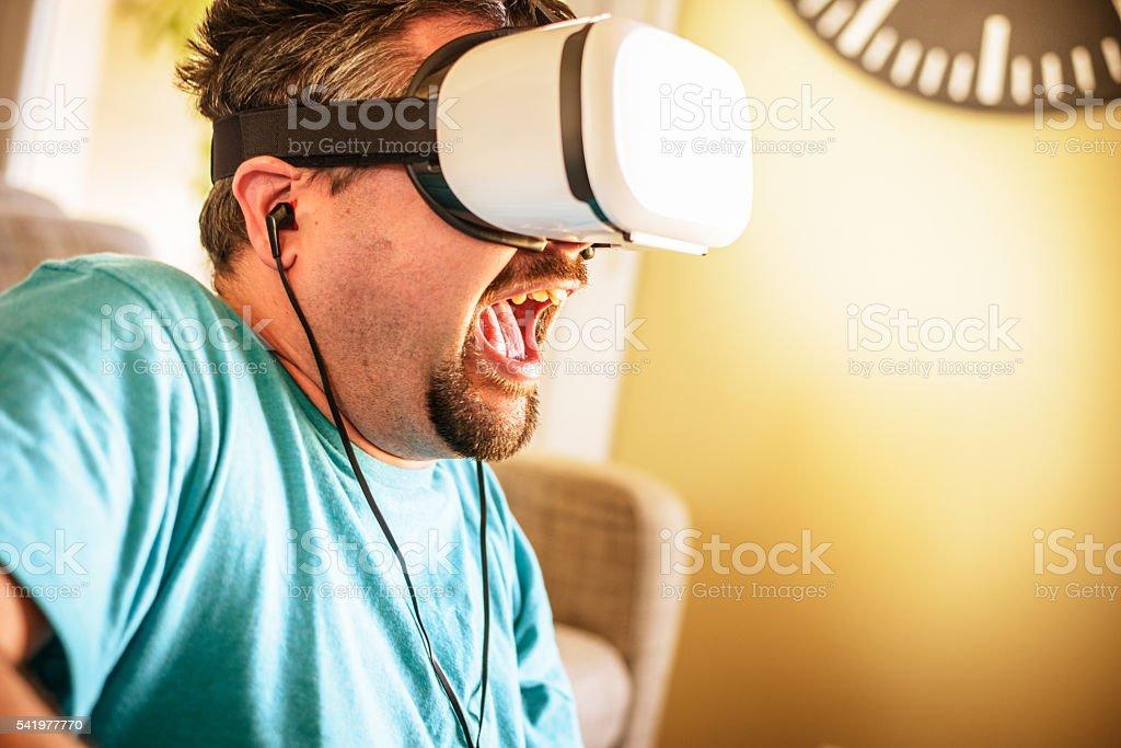 Intense Virtual Reality Experience stock photo