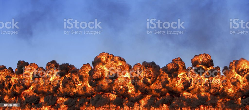 Intense wall of fire stock photo
