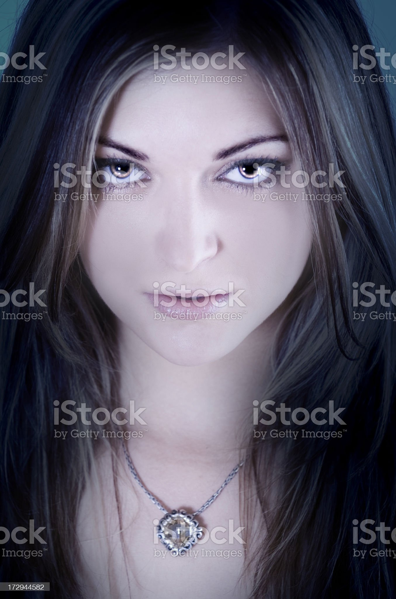 Intense Woman Stares Into Camera royalty-free stock photo