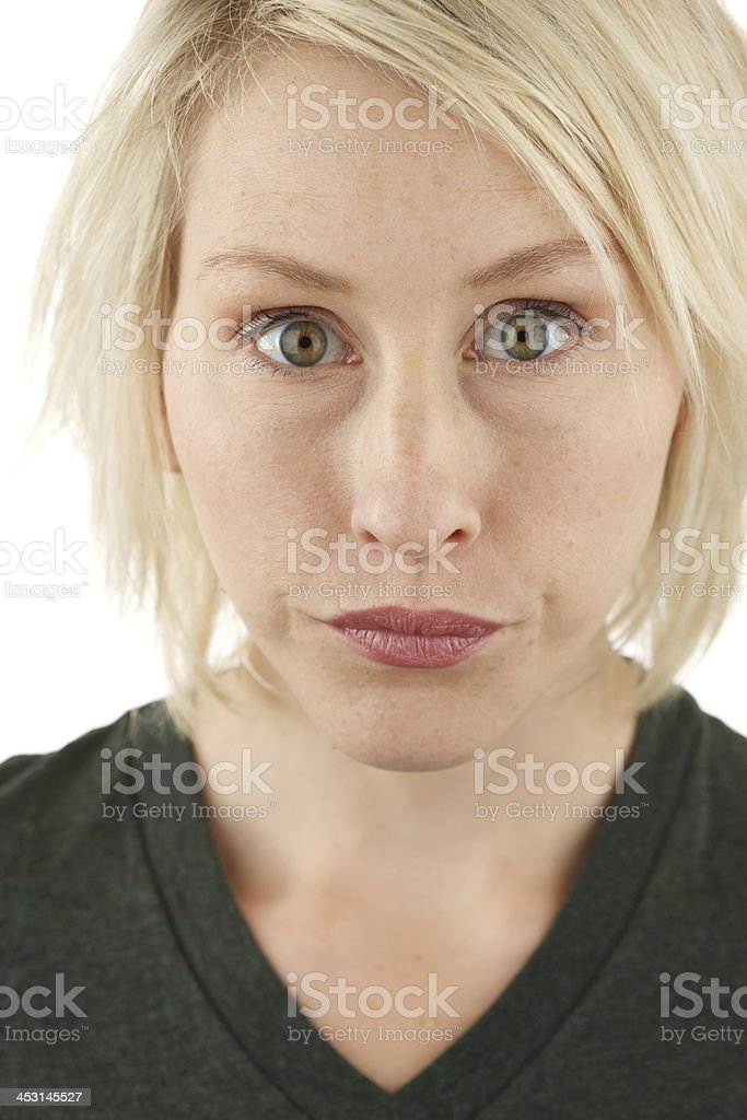 Intense woman with short blonde hair royalty-free stock photo