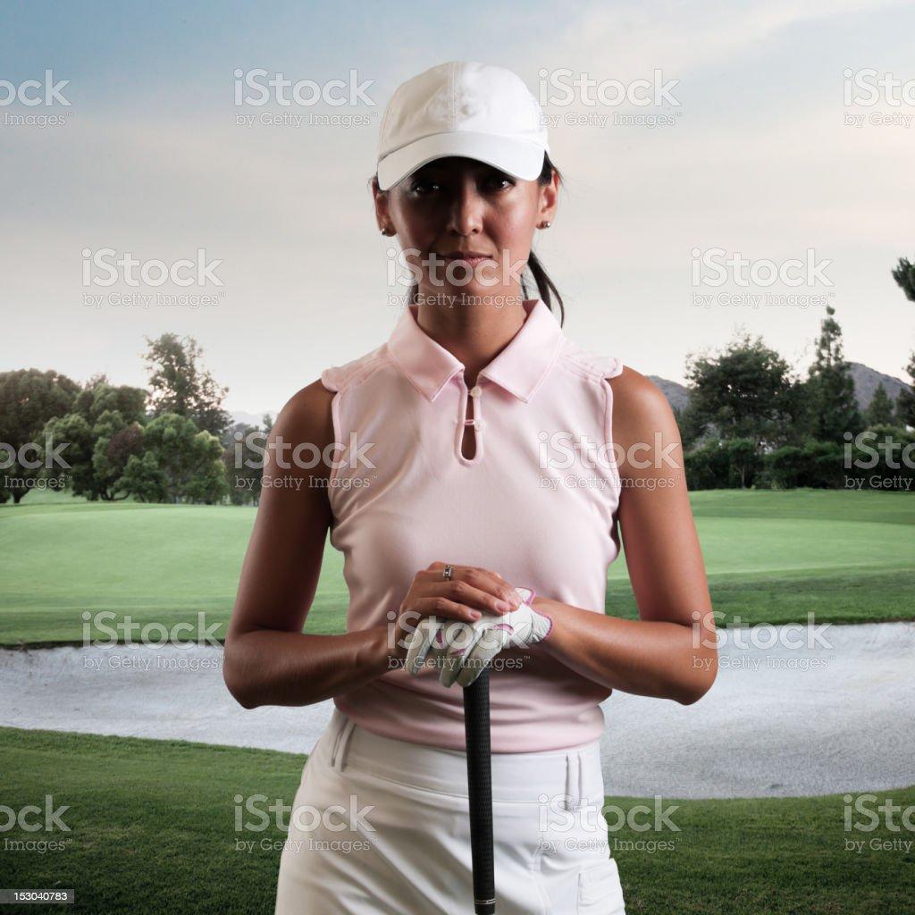 Intense Women Golfer stock photo