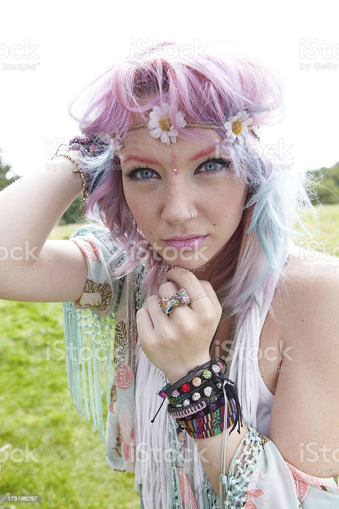 Intense Young Hippy Woman royalty-free stock photo