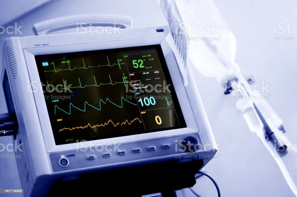 intensive care unit monitor stock photo
