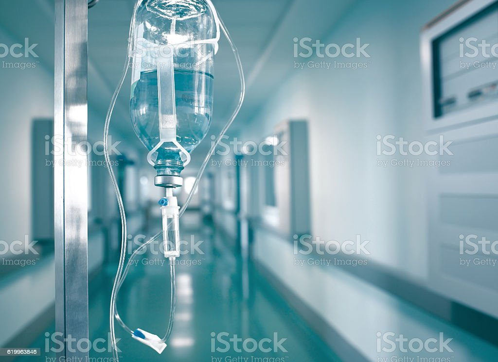 Intensive therapy with intravenous drugs in IV Drip stock photo
