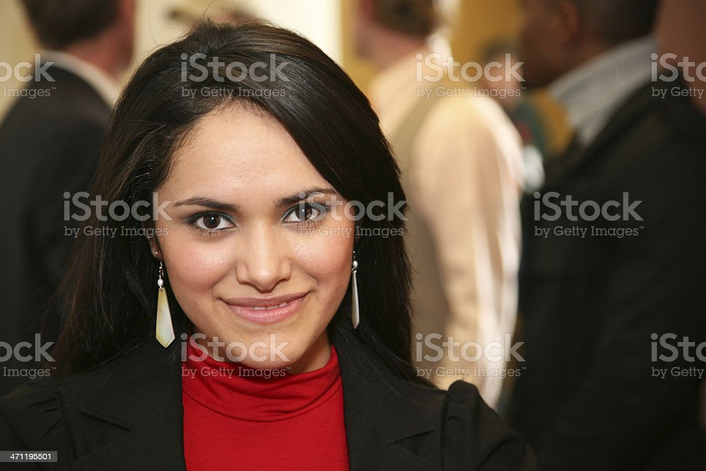 Intent Business Woman in front of Co-Workers royalty-free stock photo