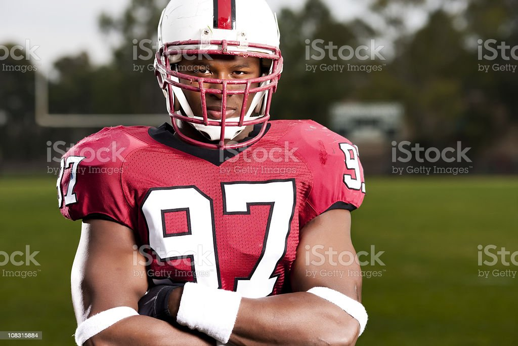 Intent Football Player Portrait royalty-free stock photo