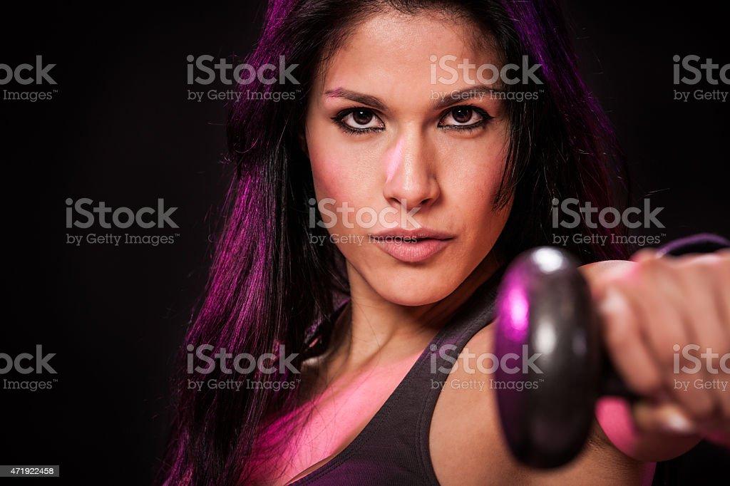 Intent Hispanic Fitness Girl stock photo