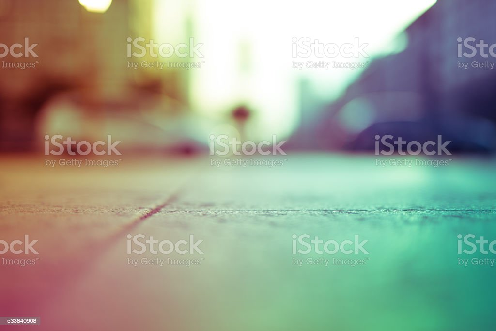 Intentionally blurred colorful filtered view of a concrete sidew stock photo