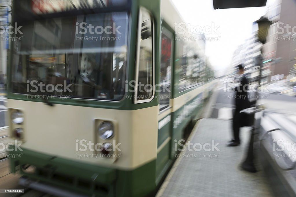 Intentionally motion-blurred arriving train royalty-free stock photo