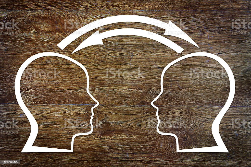 Interaction during communication. Concept of interplay stock photo