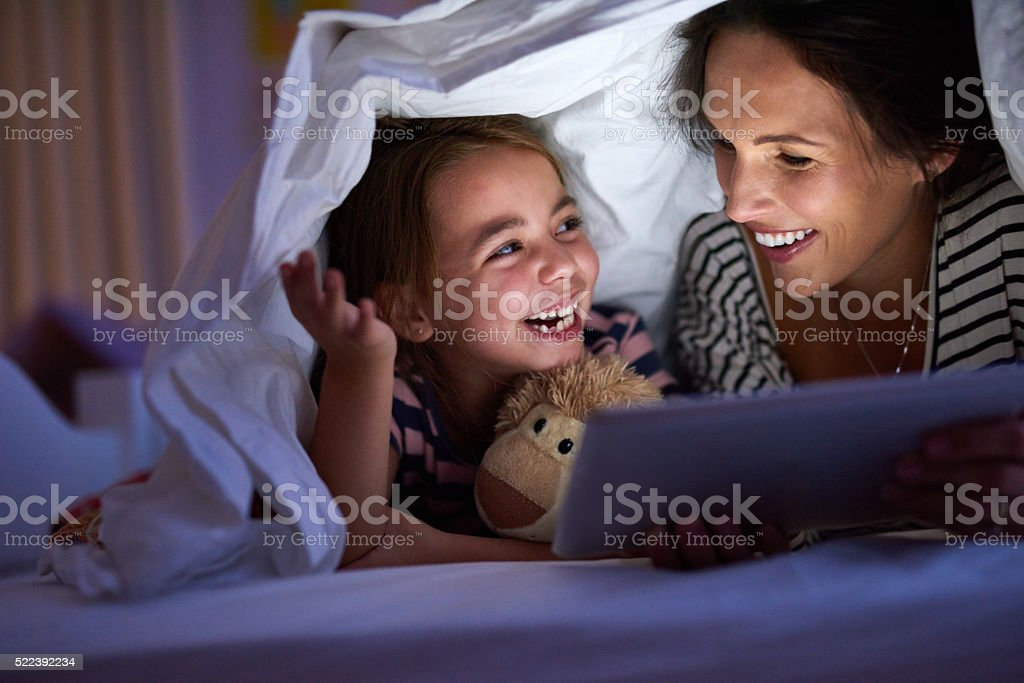 Interactive bedtime fun stock photo