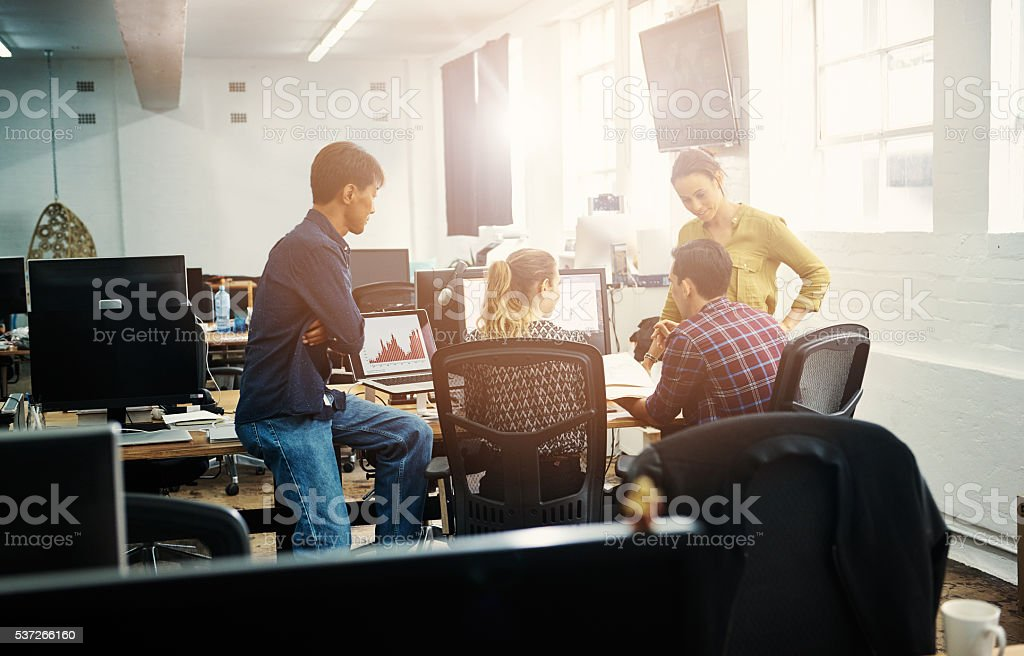 Interactive meetings work best for their business stock photo