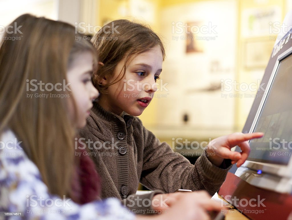 Interactive touch screen visual aid stock photo