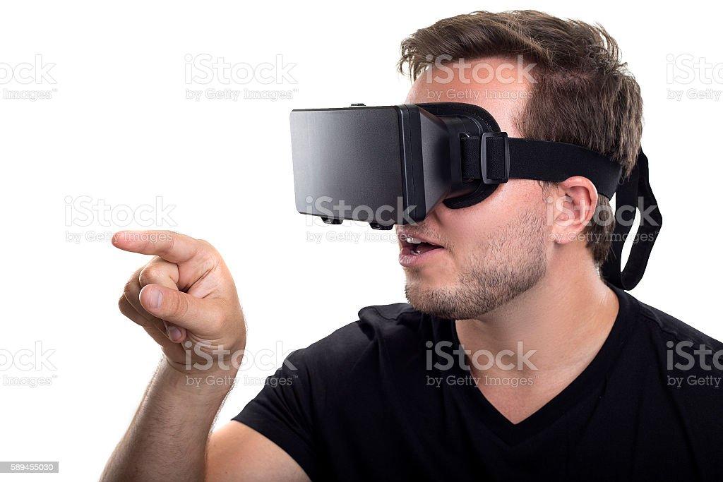 Interactive Virtual Reality on White Background stock photo