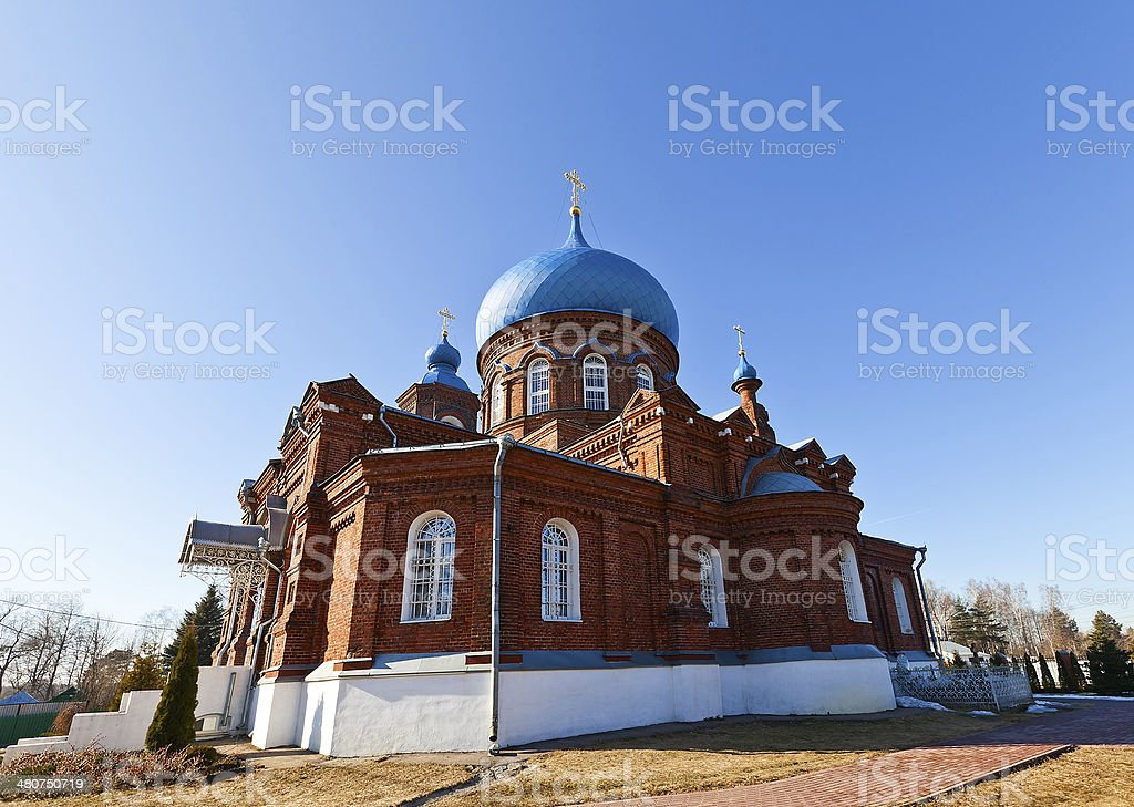 Intercession of Theotokos church (1902). Igumnovo, Russia royalty-free stock photo