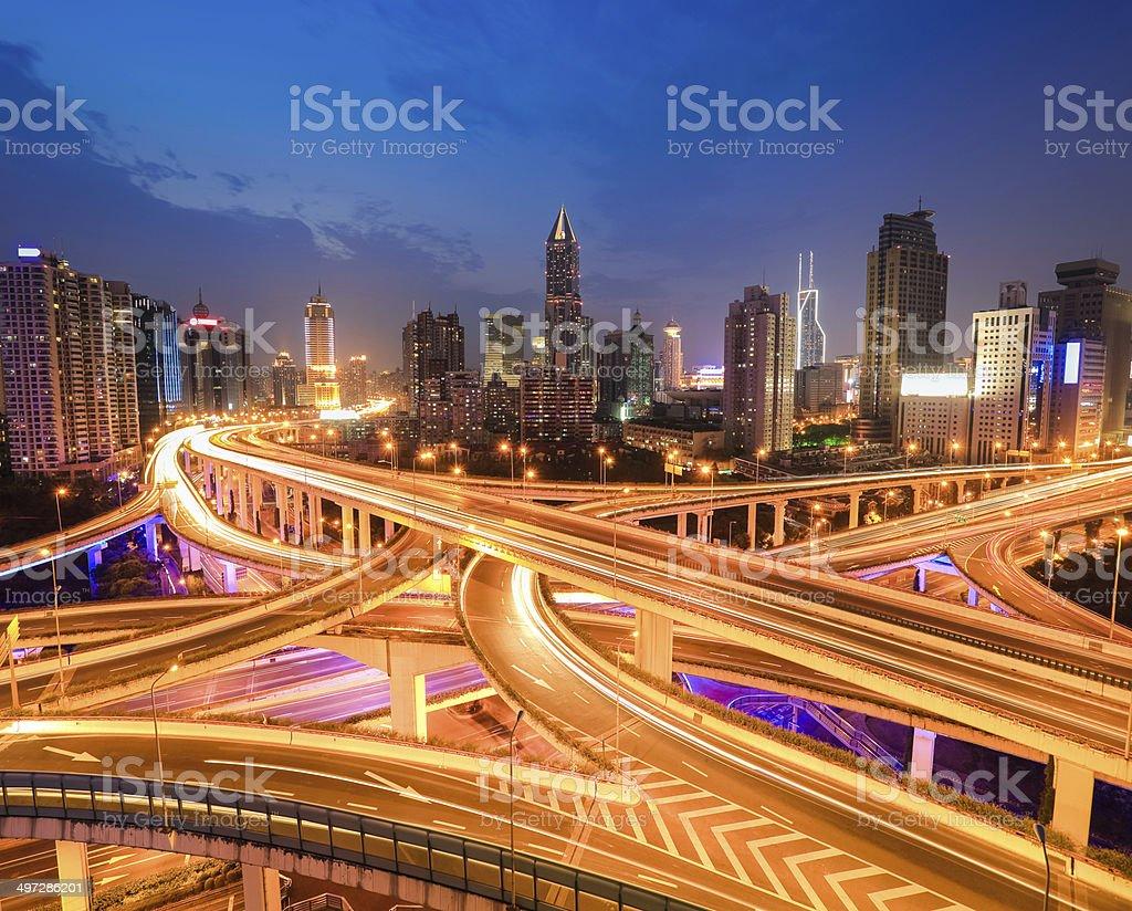 interchange overpass at night stock photo