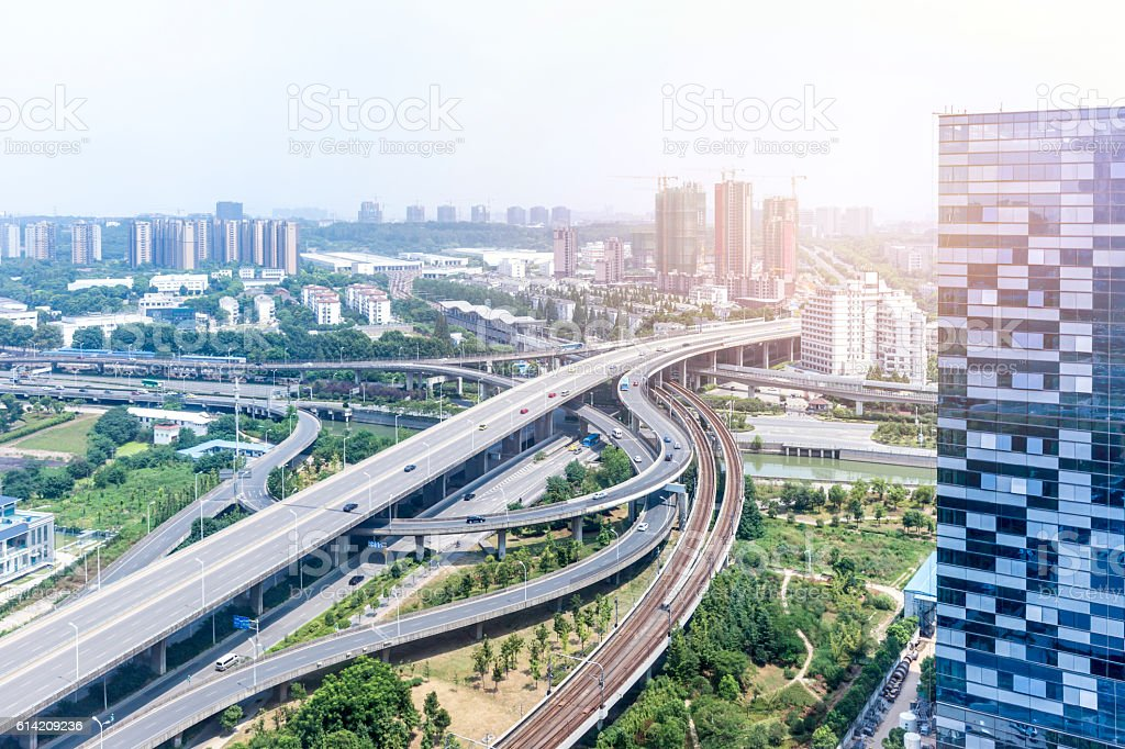 interchange overpass bridge in nanjing stock photo