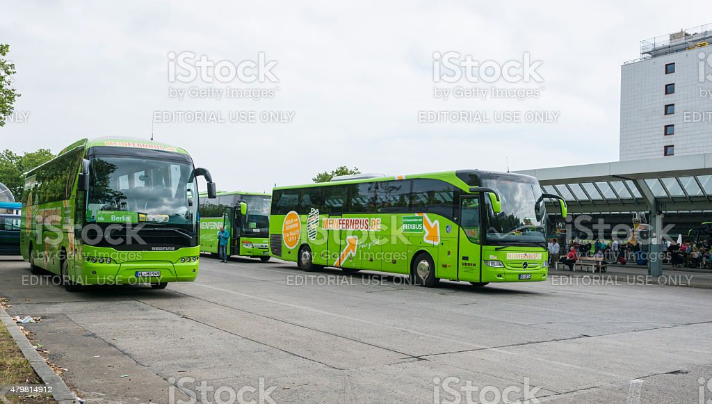 Intercity bus- main station ZOB in Berlin MeinFernbus and Flixbus stock photo