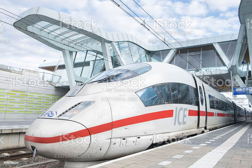 ICE -Intercity Express- high speed train arriving at the station stock photo