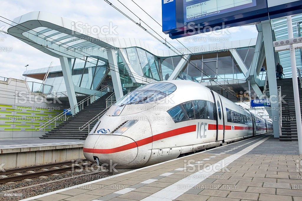 ICE, Intercity Express high speed train arriving at the station stock photo