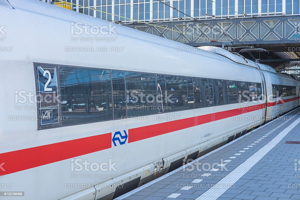 ICE -Intercity Express- high speed train arriving in Amsterdam stock photo