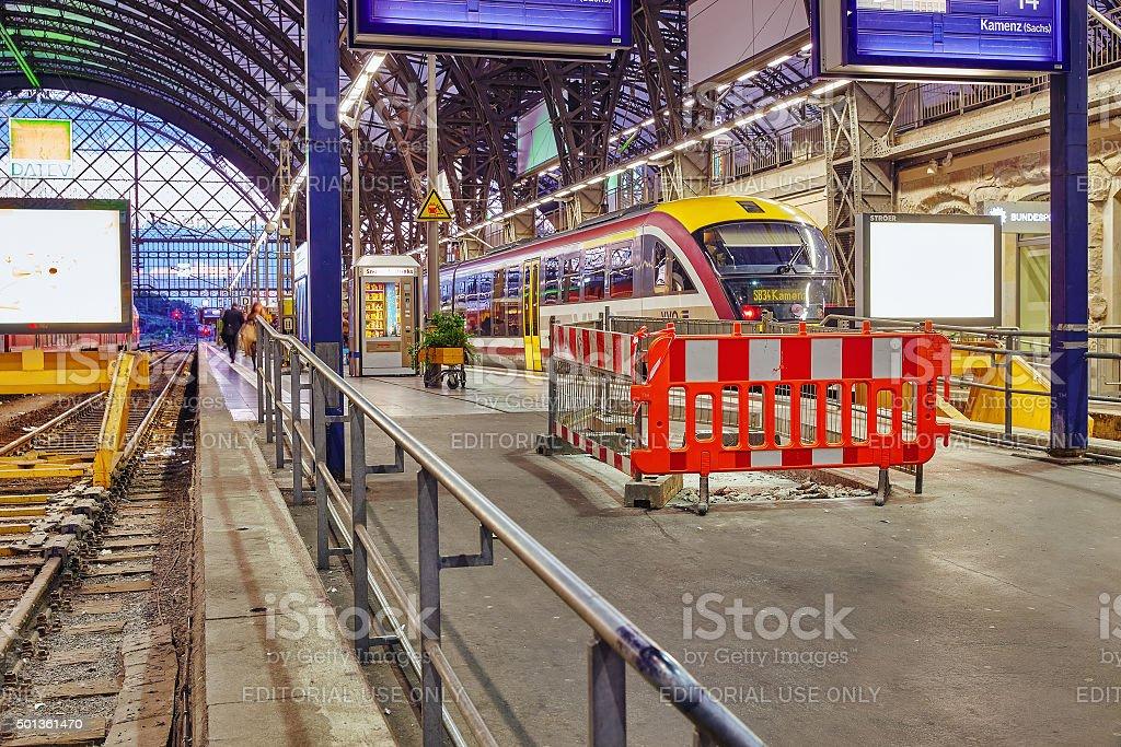 Intercity train at the railways station Dresden. stock photo
