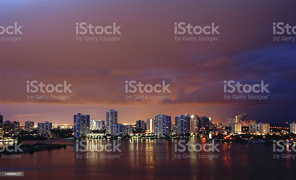 Intercoastal at night stock photo