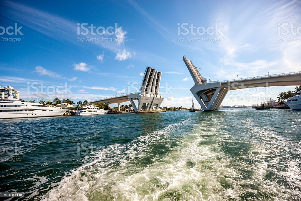 Intercoastal Waterway Open Drawbridge, Fort Lauderdale, USA stock photo