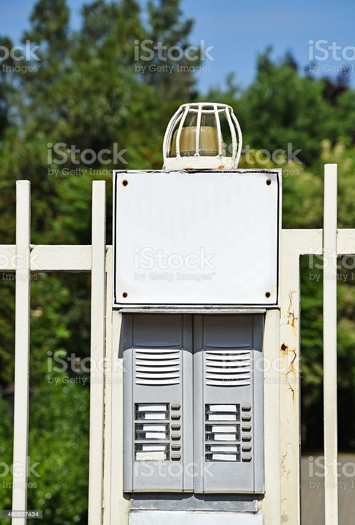 Intercom at the gate stock photo