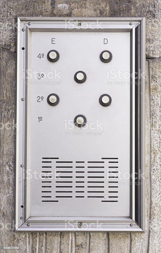 Intercom door silver royalty-free stock photo