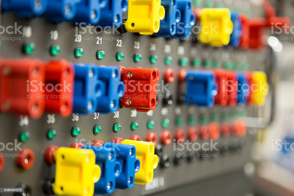 Interconnect Panel in an Electronics Lab stock photo