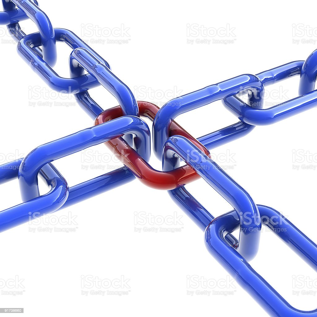 Interconnected chain with one odd link royalty-free stock photo