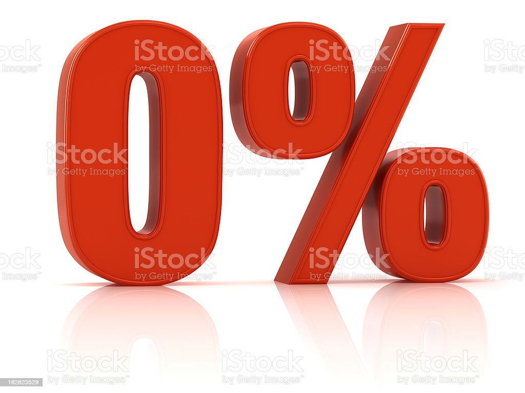 interest rate 0% stock photo