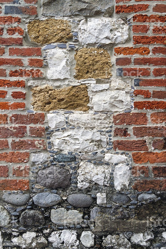 Interesting Brick and Stone Wall stock photo
