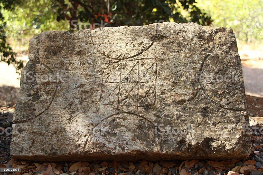 Interesting Marble carvings at Ruins of Temple of Pan stock photo