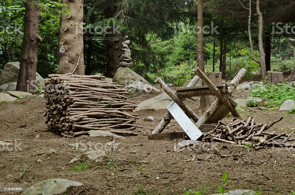 Interesting nook for scission log of piece in Vitosha mountain stock photo