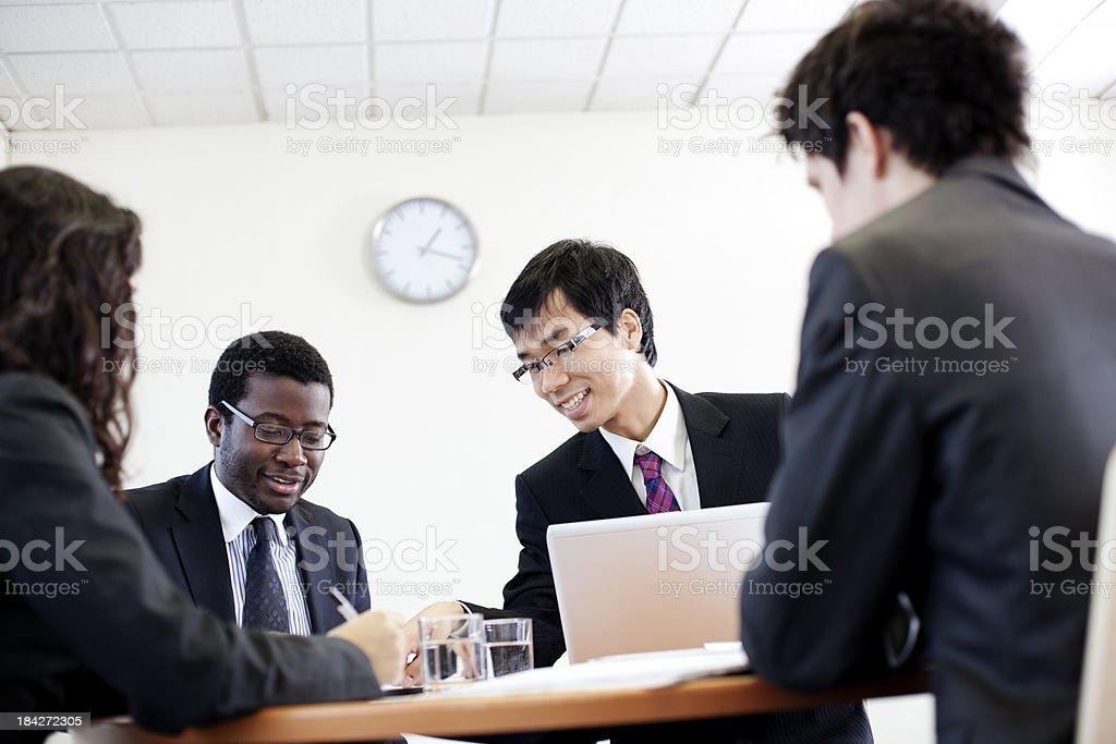 Interesting office meeting stock photo
