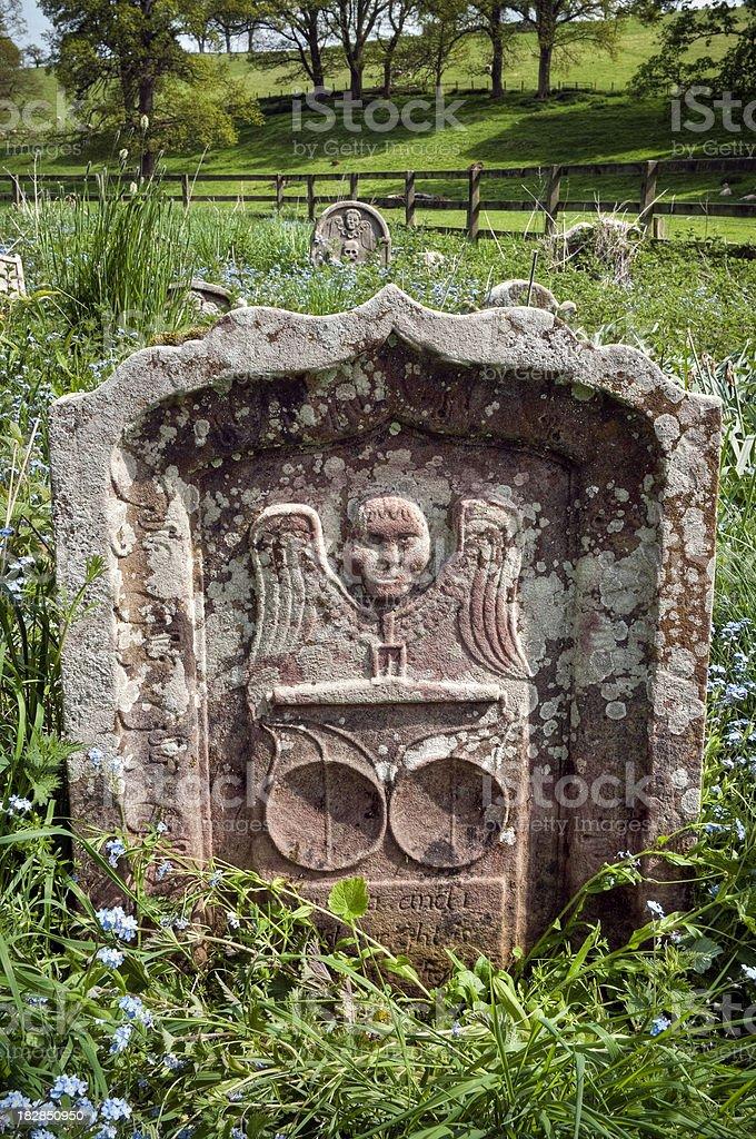 Interesting old symbolic gravestone, Scottish Borders, UK stock photo