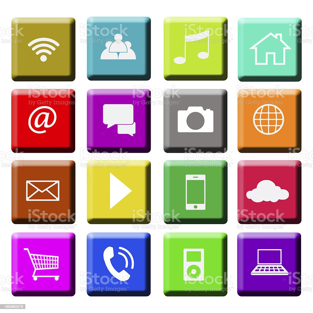 Interface Icons, multi colored stock photo